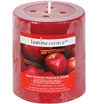 Luminessence Apple-Cinnamon Scented Pillar Candle