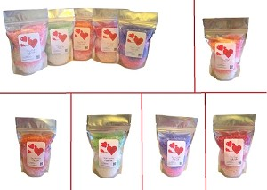 Valentine's Bath Salts - (5) 1lb Bags ~ Valentines Day Gift Set ~ Five Scents #2